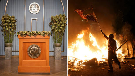 (L) View of the lectern at the Nobel Institute before committee chair Berit Reiss-Andersen. © NTB / Heiko Junge via REUTERS; (R) A protestor waves a burned American flag over a fire in St Louis, Missouri, U.S., June 1, 2020. © REUTERS / Lawrence Bryant
