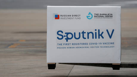 A shipment of doses of the Sputnik V arrive in in Buenos Aires. © Reuters / Agustin Marcarian