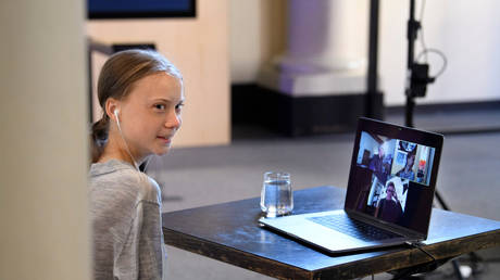 FILE PHOTO: Greta Thunberg participates in a video conference at the Nobel Museum in Stockholm, Sweden.