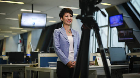 FILE PHOTO: China's state broadcaster CGTN anchor Liu Xin smiles during an interview at the CCTV headquarters in Beijing on May 30, 2019.