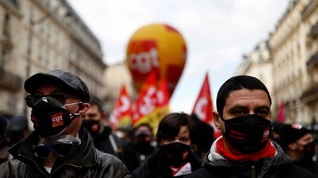 French CGT labour union members are pictured in Paris, France on February 4, 2021.