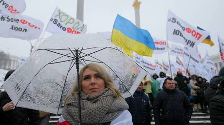 Participant of the all-Ukrainian action on Independence Square in Kiev.