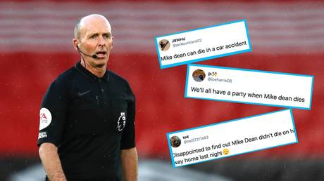 Mike Dean was the subject of death threats against himself and his family after showing West Ham's Tomas Soucek a red card - Reuters / ADRIAN DENNIS