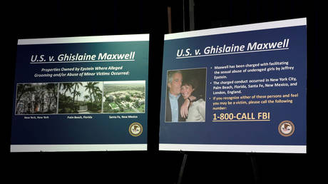 File photo: DOJ announces charges against Ghislaine Maxwell for her role in the sexual exploitation and abuse of minor girls by Jeffrey Epstein, New York,  July 2, 2020.