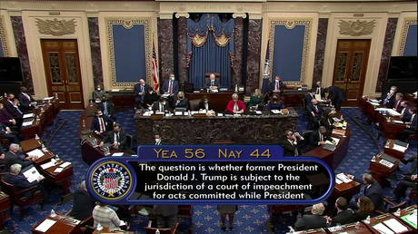 The U.S. Senate votes it is constitutional to try ex-President Donald Trump on charges of inciting an insurrection at the Capitol, February 9, 2021 © Senate TV via Reuters