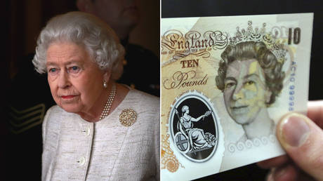 (L) Queen Elizabeth II at Buckingham Palace on November 4, 2015 in London, England. © Getty Images / Chris Jackson; (R) A person poses holding a sample ten pound British polymer banknote during a news conference at the Bank of England in London on September 10, 2013. © AFP / CHRIS RATCLIFFE