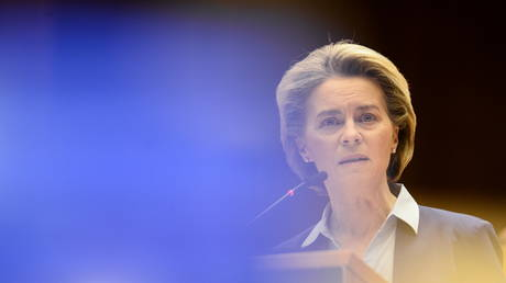 European Commission President Ursula von der Leyen, February 10, 2021. © REUTERS/Johanna Geron/Pool