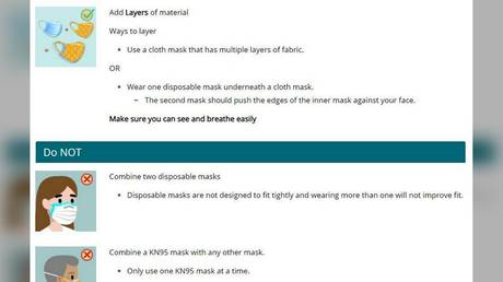 "US health authorities are now advising ""layering"" of face masks to protect against Covid-19"