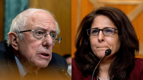 Bernie Sanders and Neera Tanden, both seen during Tanden's Senate Budget Committee Hearing in Washington, DC, February 10, 2021 © Reuters / Andrew Harnik