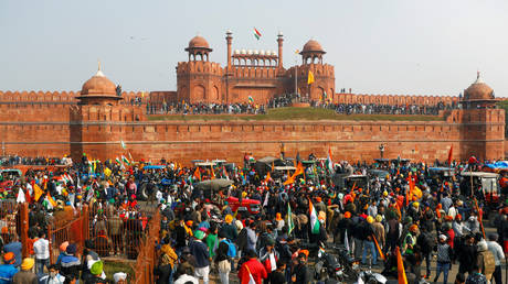 FILE PHOTO. Farmers gather in front of the historic Red Fort in New Delhi, India, January 26, 2021.