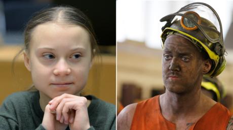 (L) Greta Thunberg ©️ Reuters / Johanna Geron; (R) Miner Phil Kelsey, miner ©️ Reuters / John Giles / Pool