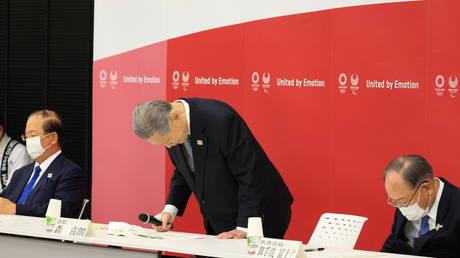Tokyo 2020 Olympics organizing committee president Yoshiro Mori announces his resignation in Tokyo, Japan on February 12, 2021.