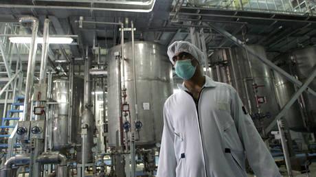 An Iranian technician works at the Isfahan uranium plant