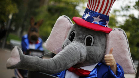 A mascot representing the Republican party gestures at the Republican National Convention