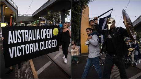 Protesters arrived at the Australian Open venue in Melbourne. © Getty Images