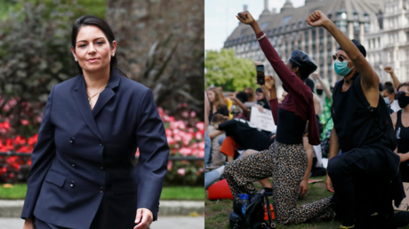Priti Patel, seen alongside kneeling 'Black Lives Matter' protesters in London © Reuters / Simon Dawson and Henry Nicholls