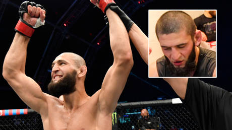 UFC star Khamzat Chimaev's fight with Leon Edwards has been canceled after a positive Covid-19 test and subsequent coronavirus struggle © Jeff Bottari / Zuffa LLC via USA Today Sports | © YouTube / Frontkick.online