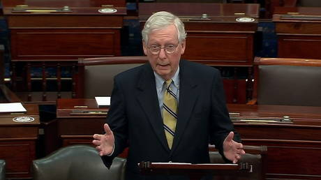 U.S. Senate Minority Leader Mitch McConnell (R-KY) speaks about former U.S. President Donald Trump, accusing him of dereliction of duty, February 13, 2021 © US Senate TV via Reuters