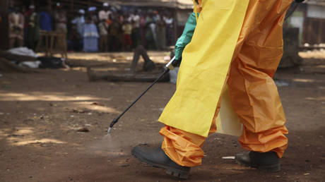 A member of the French Red Cross disinfects the area around a motionless person suspected of carrying the Ebola virus as a crowd gathers in Forecariah, Guinea, January 30, 2015.