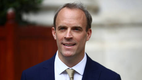 Britain's Foreign Secretary Dominic Raab reacts as he makes a statement on Hong Kong's national security legislation in London, Britain, July 1, 2020.  © Reuters / Hannah McKay