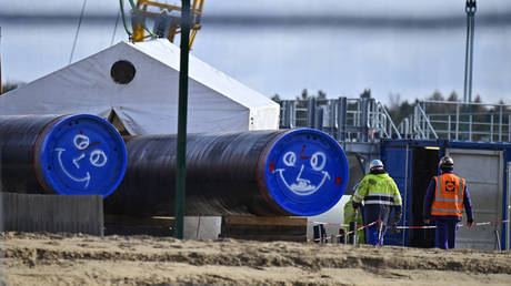 Nord Stream 2 gas pipeline construction site in Lubmin, northeastern Germany,  March 26, 2019. © AFP / Tobias Schwarz