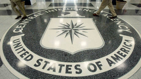 FILE PHOTO: The CIA symbol is shown on the floor of CIA Headquarters, Langley, Virginia,  July 9, 2004