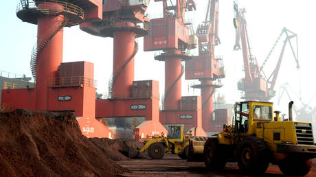 FILE PHOTO: Soil containing rare earth elements at a port in Lianyungang, China © Reuters