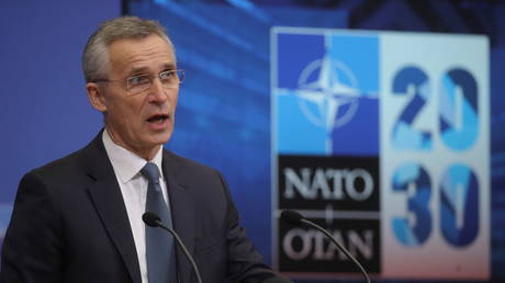 NATO Secretary General Jens Stoltenberg gives a news conference ahead to a NATO defence ministers council at the alliance headquarters in Brussels, Belgium February 15, 2021.