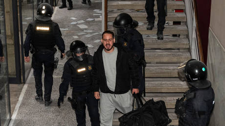 Catalan rapper Pablo Hasel is arrested by police at the University of Lleida on February 16, 2021
