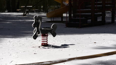 Snow blankets Cy-Champ Park in Houston, Texas, February 16, 2021.
