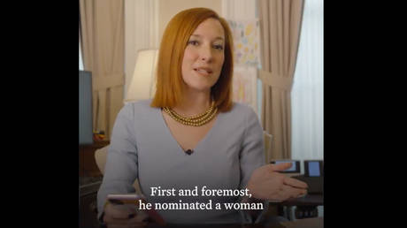 White House press secretary Jen Psaki hosts a virtual Q&A, February 16, 2021.