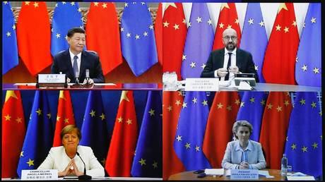 FILE PHOTO: Ursula Von Der Leyen (Bottom R), Angela Merkel (Bottom L), Xi Jinping (Top L) and Charles Michel (Top R) during the European Union - China leaders' meeting via video conference in Brussels, Belgium on September 14, 2020