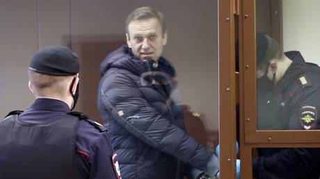 Russian opposition activist Alexei Navalny is pictured in a courtroom at Babushkinsky Court, in Moscow, Russia. © RIA