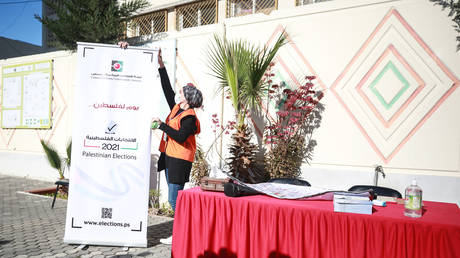 FILE PHOTO: A voter registration point is built in Gaza City, Gaza on February 10, 2021