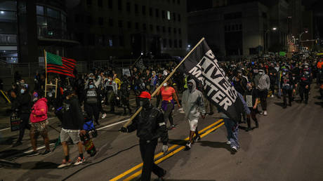 FILE PHOTO: Hundreds of demonstrators gather and march to the City Public Safety Building over Daniel Prudeâs death in Rochester, New York, United States on September 6, 2020