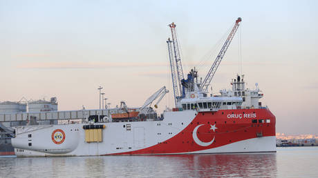 FILE PHOTO of another Turkish seismic survey vessel, the Oruc Reis © Getty Images/Anadolu Agency/Contributor