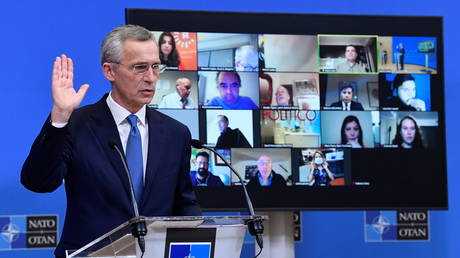 NATO Secretary General Jens Stoltenberg addresses a news conference following a virtual meeting of defence ministers at NATO headquarters in Brussels © John Thys/Pool via REUTERS