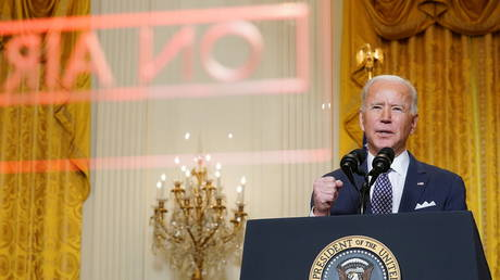 US President Joe Biden delivers remarks as he takes part in a Munich Security Conference virtual event from the East Room at the White House in Washington, US, February 19, 2021