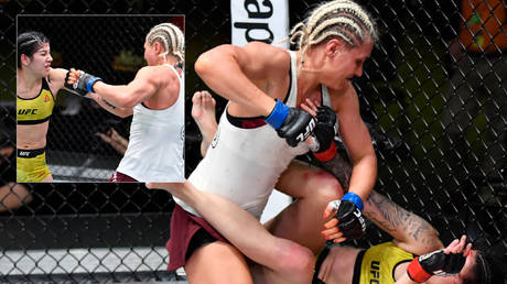 Yana Kunitskaya (left) beat Ketlen Vieira in the UFC © Chris Unger / Handout Photo via USA Today Sports / Reuters