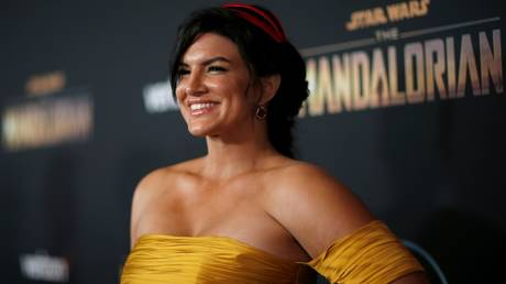 """Gina Carano is shown at the 2019 premiere of """"The Mandalorian"""" in Los Angeles."""