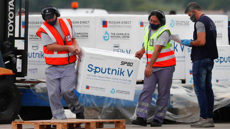A shipment of doses of the Sputnik V vaccine against Covid-19 arriving in Buenos Aires, Argentina January 28, 2021