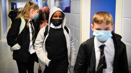 Pupils wear face masks at a school in the UK