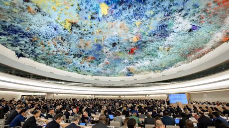 Les délégués assistent à l'ouverture de la principale session annuelle du Conseil des droits de l'homme des Nations Unies à Genève © Fabrice Coffrini / AFP
