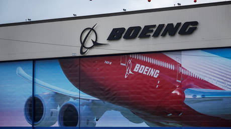 FILE PHOTO: A Boeing logo is seen at the company's facility in Everett, Washington, US January 21, 2020