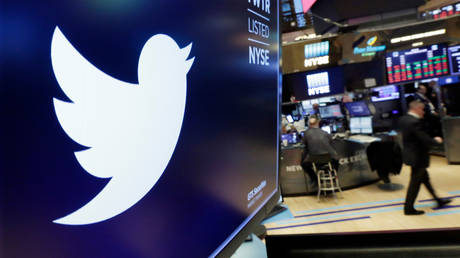 Twitter logo is displayed above a trading post on the floor of the New York Stock Exchange © AP Photo/Richard Drew