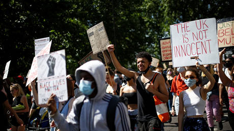 Demonstrators march during a Black Lives Matter protest in London, Britain, July 12, 2020