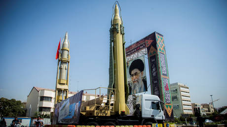 FILE PHOTO: A display featuring missiles and a portrait of Iran's Supreme Leader Ayatollah Ali Khamenei is seen at Baharestan Square in Tehran, Iran September 27, 2017