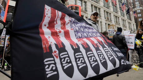 FILE PHOTO: Anti-war demonstrators take part in a protest in New York City, US, April 15, 2018