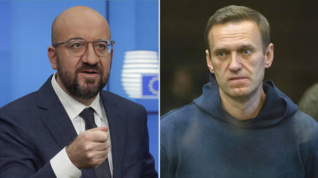 (L) European Council President Charles Michel © Olivier Hoslet / Pool / AFP; (R) Alexey Navalny © Moscow City Court via AP