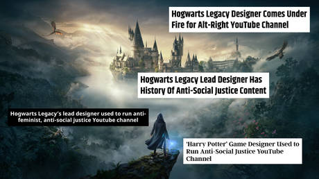Hogwarts Legacy. © Warner Bros. Games; (insets) Screenshots from indiewire.com, cbr.com, screenrant.com, vg247.com